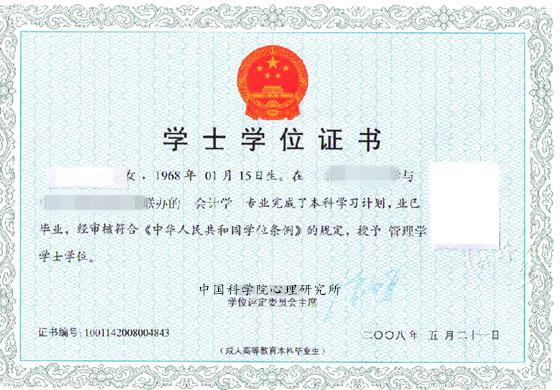 中国科学院心理研究所学士学位证书样本